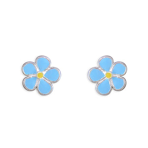 Blue Enamel Forget me Not flower Stud