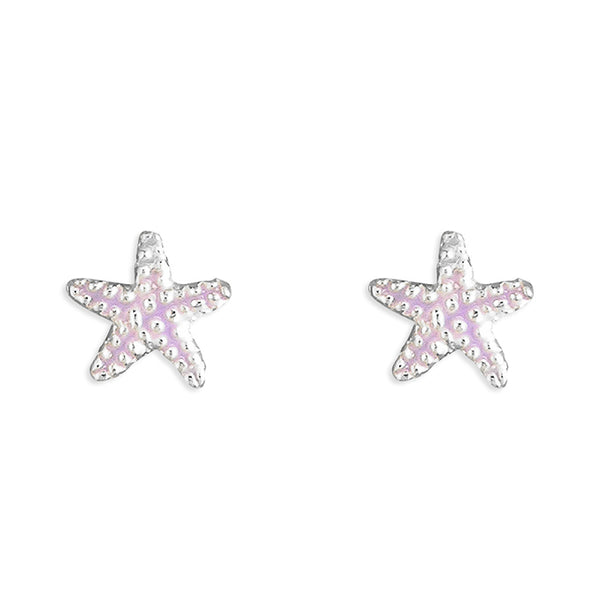 Sterling Silver Purple little enamel Starfish Stud Earring