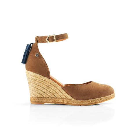 THE MONACO WEDGE TAN HEELED ESPADRILLE - Fairfax & Favor