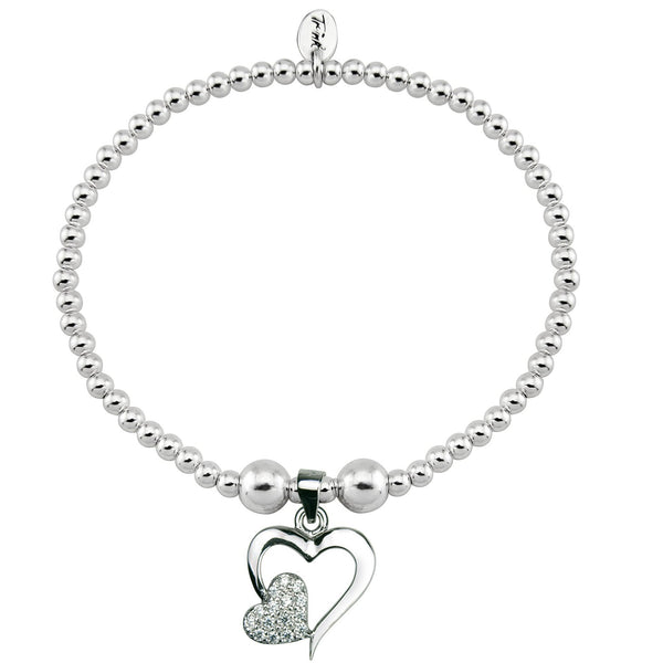Double Heart with Sparkle Sterling Silver Bracelet
