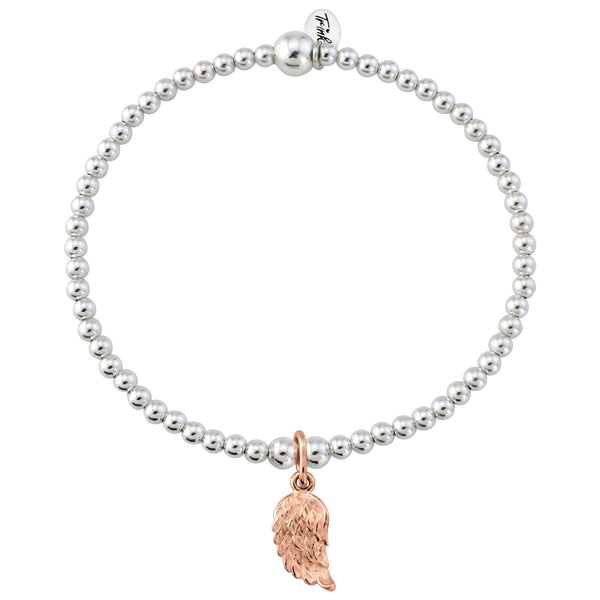 Rose Gold Angel Wing On Sterling Silver Bracelet