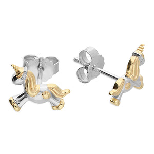 Unicorn Studs - Sterling Silver and Gold Plated