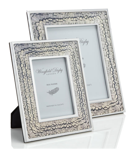 White Pheasant Feather & Glass Photo Frame - Wingfield Digby