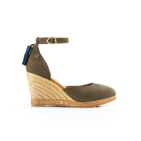 THE MONACO WEDGE KHAKI HEELED ESPADRILLE Fairfax & Favor