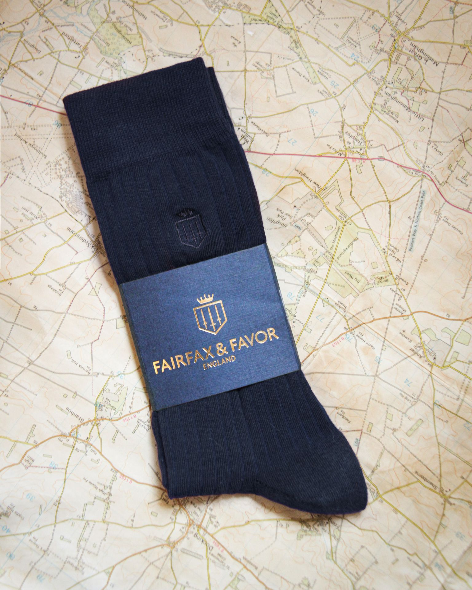 THE SIGNATURE MENS SOCK NAVY-Fairfax & Favor