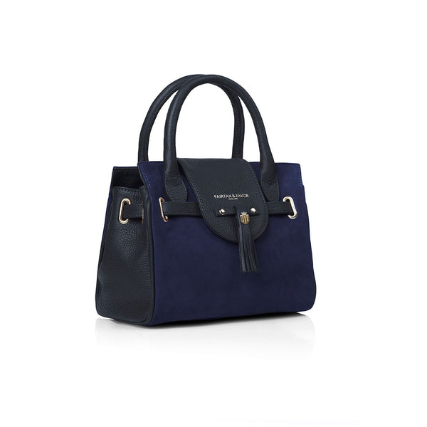 THE MINI WINDSOR NAVY LEATHER AND SUEDE HANDBAG - Fairfax & Favor