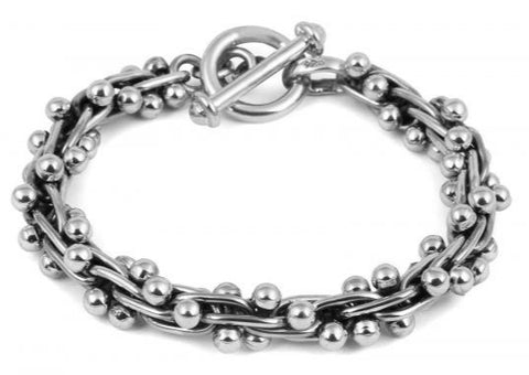 Sterling Silver Uniformed Bobbly Bracelet with T Clasp