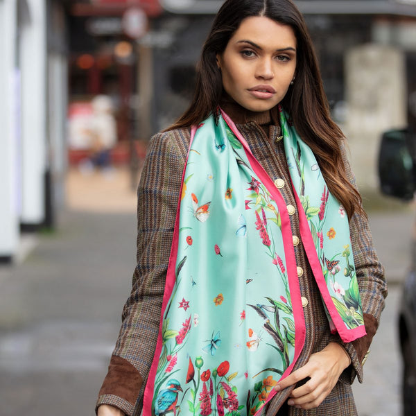 Class Pastures New, Mint Silk Scarf by Clare Haggas