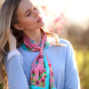 Narrow Pastures New Coral Silk Scarf by Clare Haggas