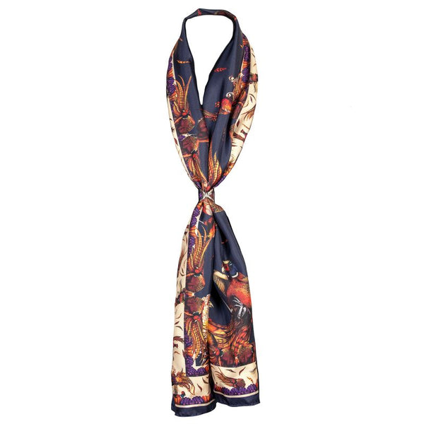 Classic George & Friends Navy Silk Scarf by Clare Haggas