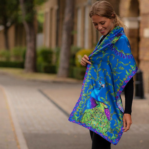 Classic Pluming Marvellous Peacock Blue Silk Scarf by Clare Haggas