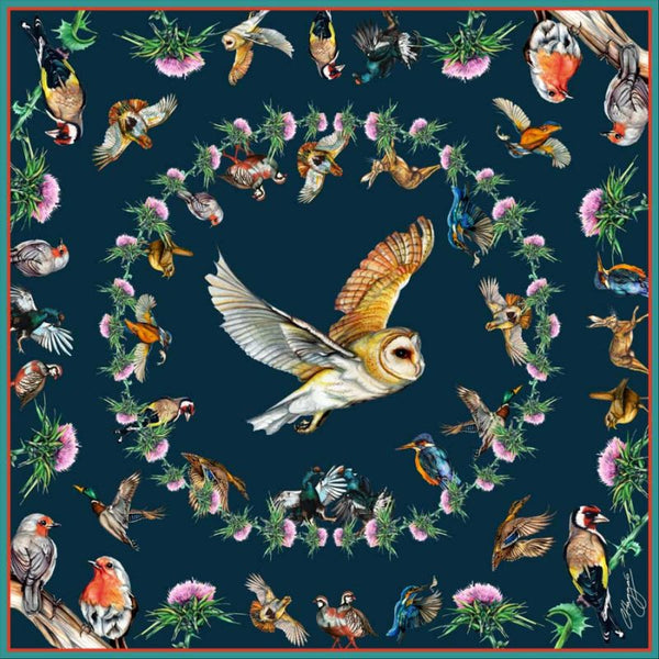 Medium Walk on Wildside  Navy Silk Scarf by Clare Haggas
