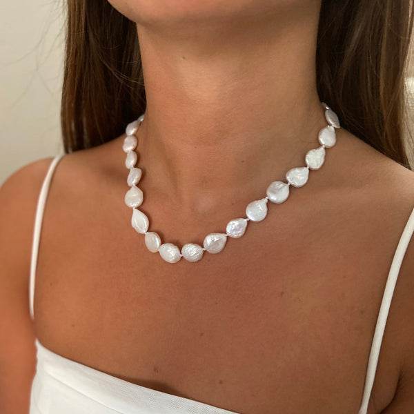 Natural Freshwater Coin Pearl Necklace