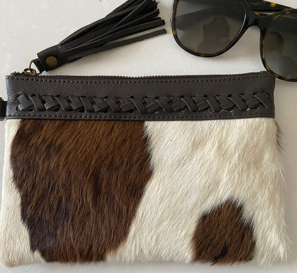 The Donnington Leather Cowhide Clutch - Chocolate