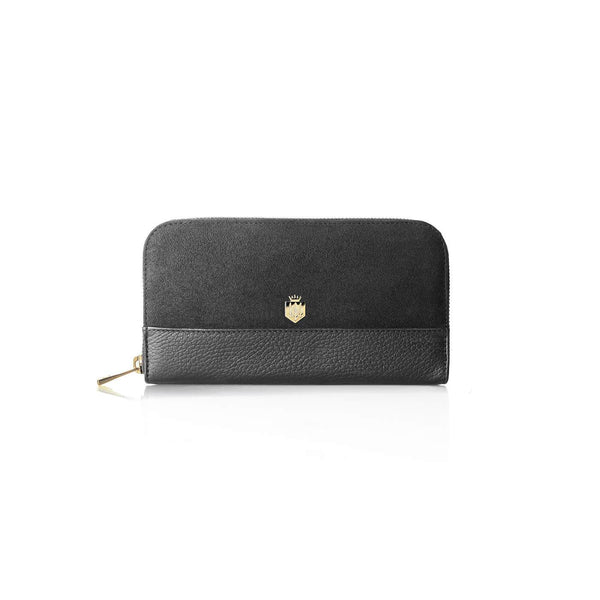 THE SALISBURY GREY LEATHER AND SUEDE PURSE - Fairfax & Favor