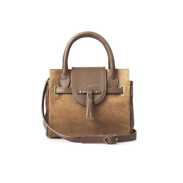 THE MINI WINDSOR TAN LEATHER AND SUEDE HANDBAG - Fairfax & Favor
