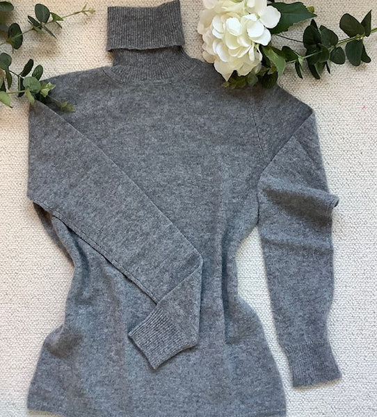 Pure Cashmere Polo Neck Sweater - CLASSIC GREY