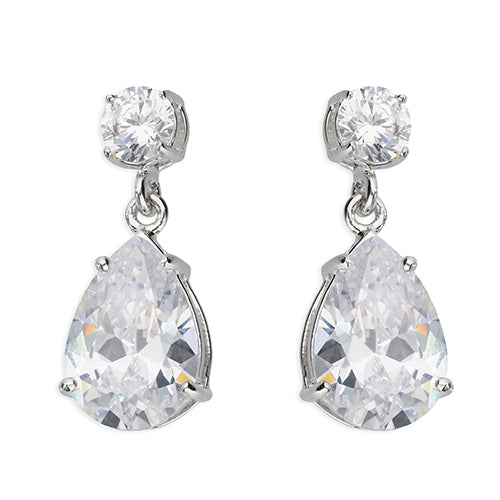 Double stone Earrings AA Zirconia  Drops set in Sterling Silver