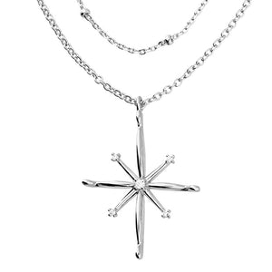 Sterling Silver North Star Pendant Doubl Layer Necklace
