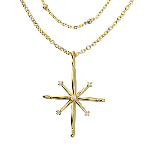 Double North Star Gold Plated Necklace