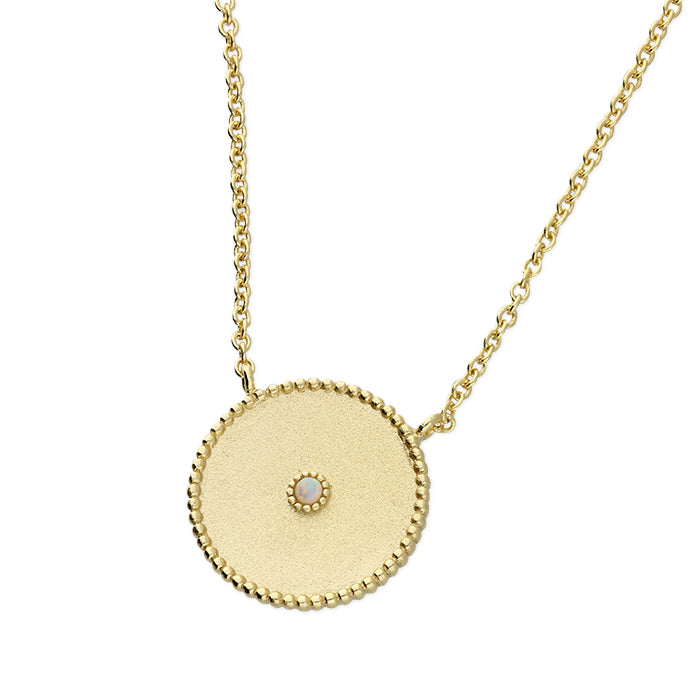 Satin Finish Gold-Plated Disc Necklace With Small Opal