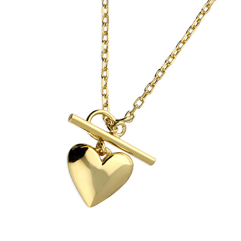 Yellow Gold plated heart with T-bar and Chain