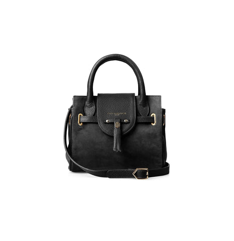 The Mini Windsor Black Leather and Suede Handbag