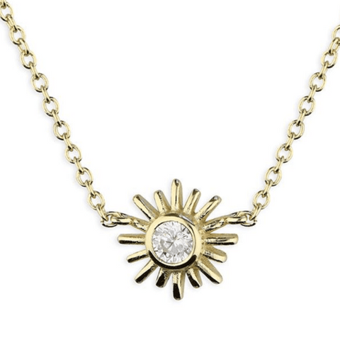 Gold Plated Sunflower with single AA Zirconia on Chain
