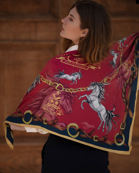Hold Your Horses Silk Scarf by Clare Haggis - Royal Red & Navy