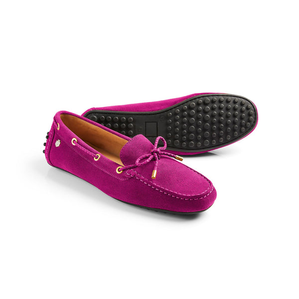 The Henley FUSHIA Suede Driving Shoe - Fairfax and Favor