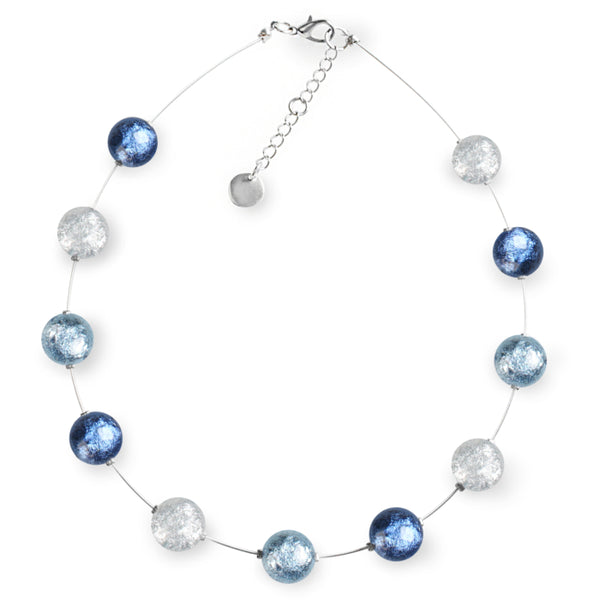 Ice Blue Cabouchon Floating Necklace