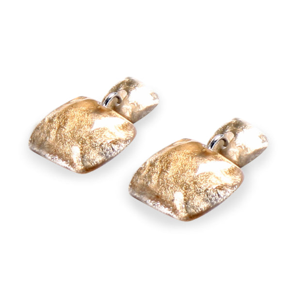 Gold Antique Square Shiny Dangle Stud Earrings