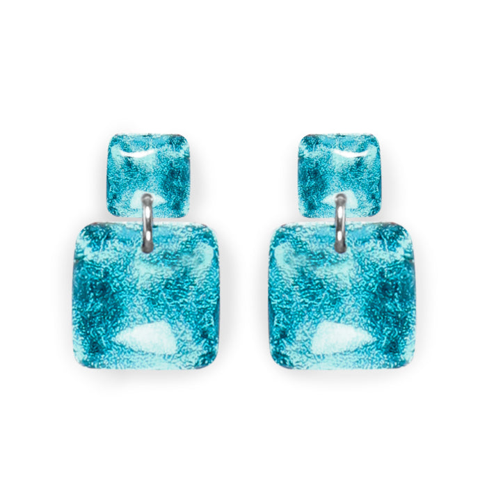 Teal Square Shiny Dangle Stud Earrings