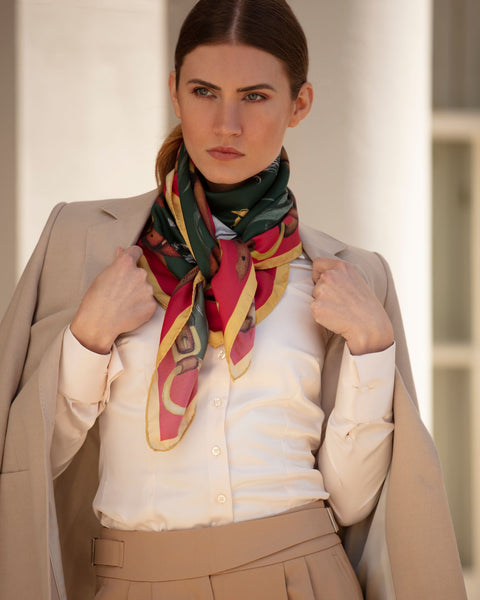 Hold Your Horses Silk Scarf by Clare Haggis - Royal Red & Green