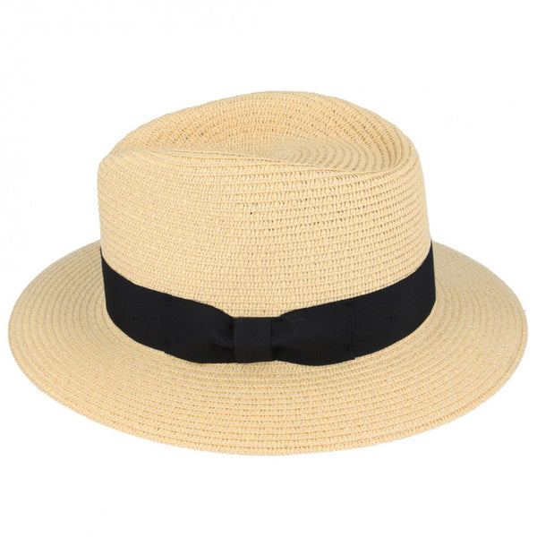 Summer  Straw Fedora Hat - Beige