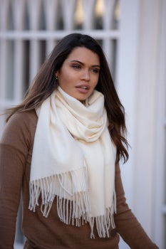 Luxury Cashmere Mix Scarf - Soft Creme