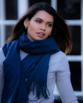 Luxury Cashmere Mix Scarf - Navy Denim Blue