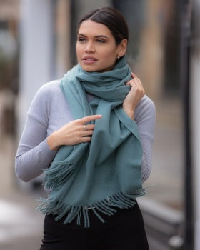 Luxury Cashmere Mix Scarf - Olive Green