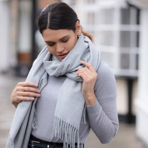 Luxury Cashmere Mix Scarf - Pale Grey