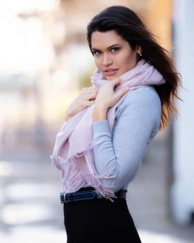 Luxury Cashmere Mix Scarf - Powder Pink