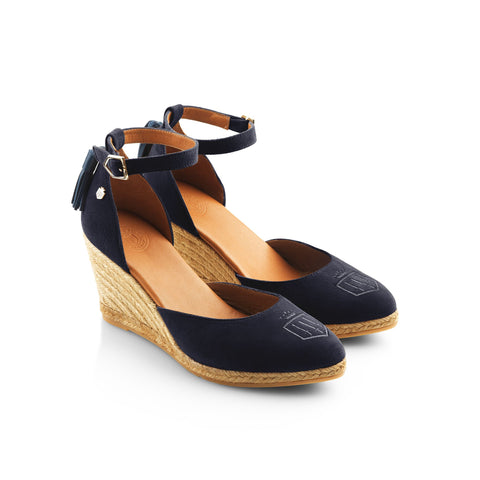 THE MONACO WEDGE NAVY HEELED ESPADRILLE - Fairfax & Favor