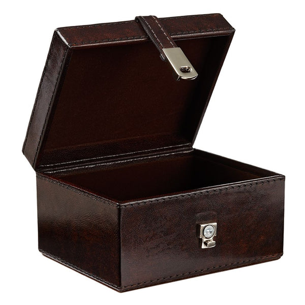 Leather Stud Keepsake Box - Dark Brown
