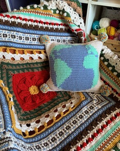 Christmas Around the World Blanket and Bonus Pillow Crochet Pattern