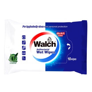 WALCH ANTIBACTERIAL WET WIPES 10s