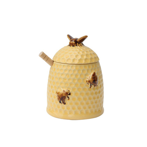 "5""L x 4-1/2""W x 7""H Ceramic Bear Honey Pot w/ Bamboo Honey Dipper,"