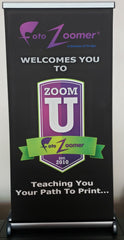 "Large Table Top Retractable Banner Stand - 17""wide x 34""high"