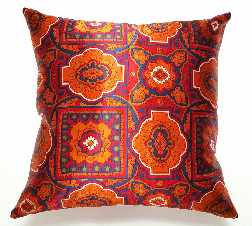 Vintage Orange and Navy Satin Scarf Pillow