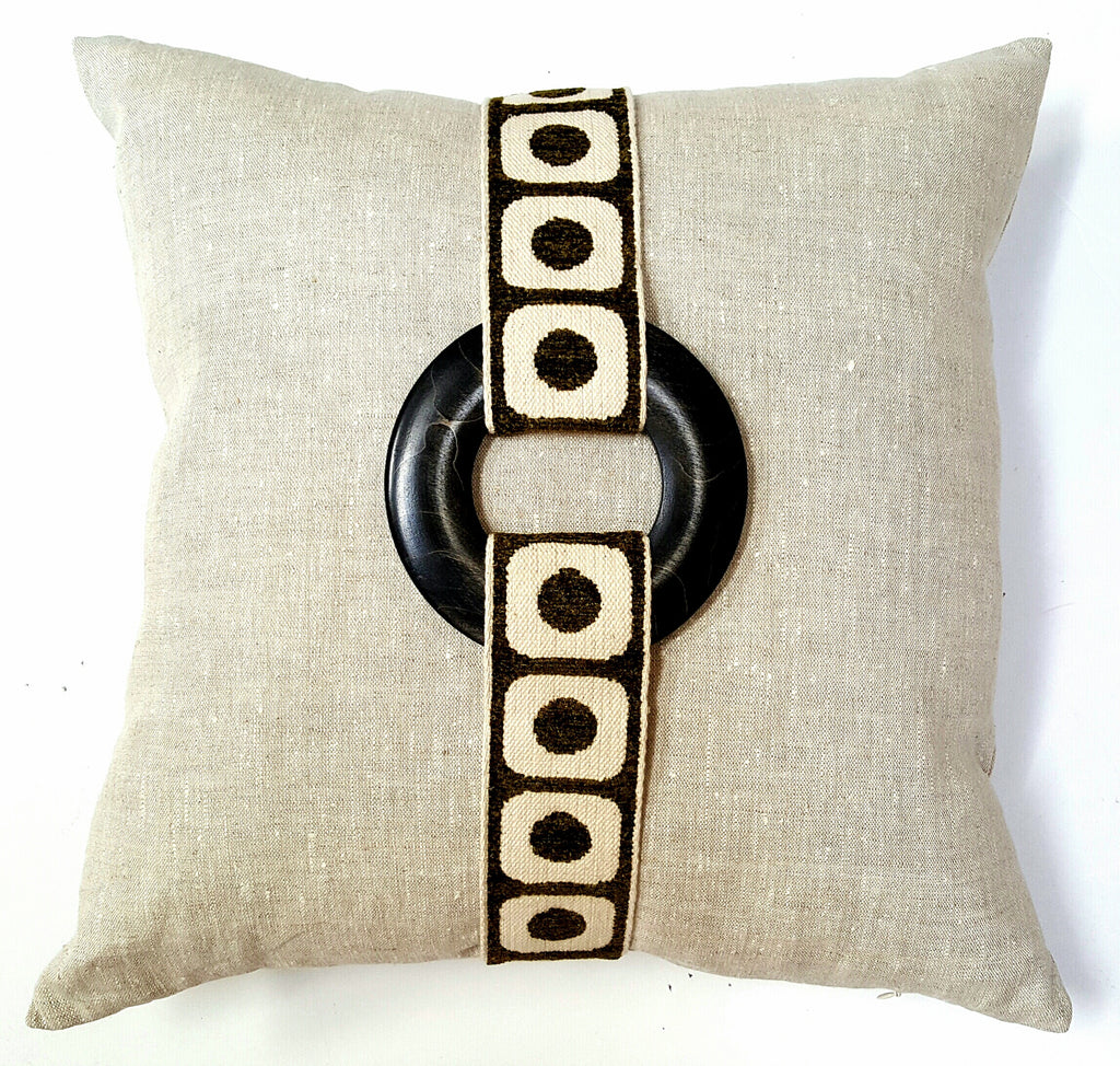 Vintage Modern Green French Trim Pillow
