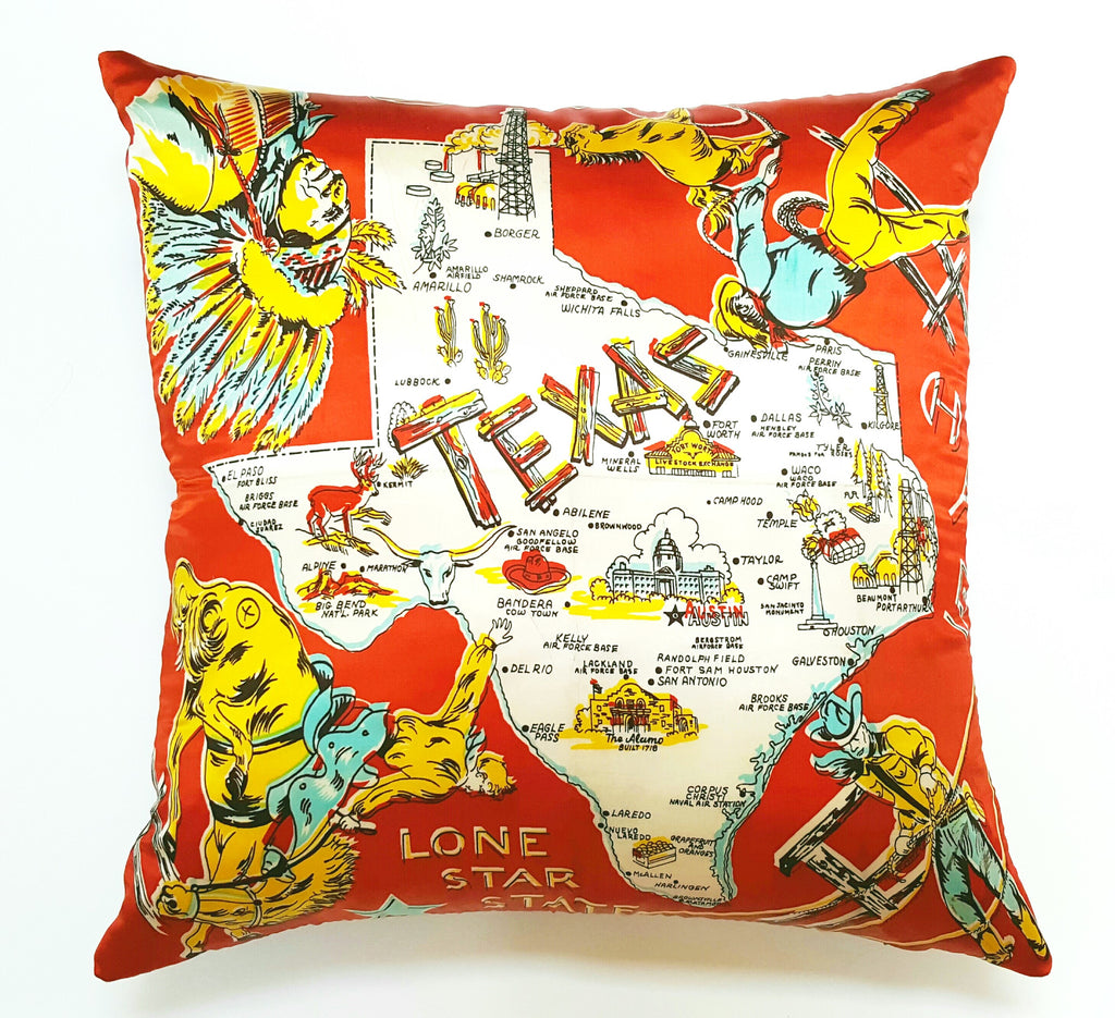 Vintage Texas Satin Souvenir Scarf Pillow