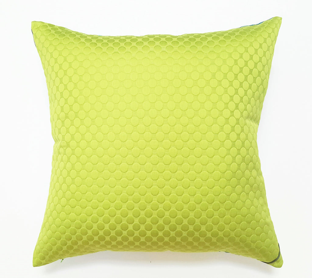 Lime Green, Aqua and Gray Modern Square Pillow